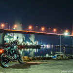 CB1100で夜の漁港へ
