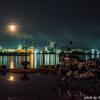 CB1100  工場夜景とオートバイ