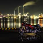 CB1100 雨上がりの港と工場夜景